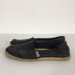 TOMS Black Leather Espadrille Slip On Flats
